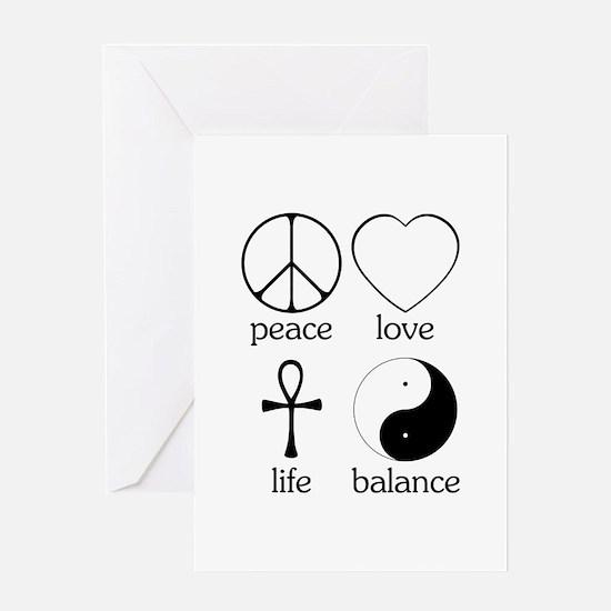 Peace Love Life Balance Greeting Card