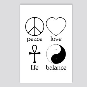 Peace Love Life Balance Postcards (Package of 8)