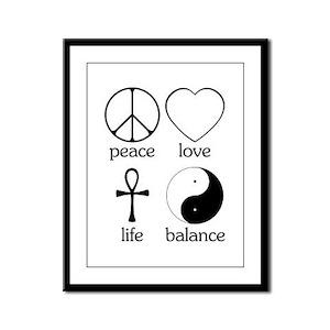 Peace Love Life Balance Framed Panel Print
