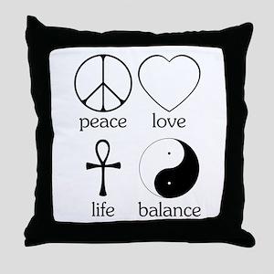 Peace Love Life Balance Throw Pillow