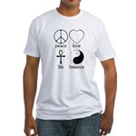 Peace Love Life Balance Fitted T-Shirt