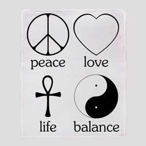Peace Love Life Balance Throw Blanket
