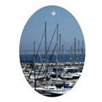 Boats in Harbor Oval Ornament