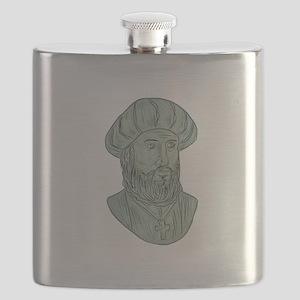Vasco da Gama Explorer Bust Drawing Flask