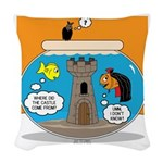 Fishbowl Vampire Castle Woven Throw Pillow