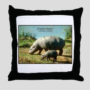 Pygmy Hippo Hippopotamus Photo Throw Pillow