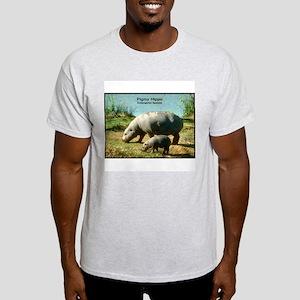 Pygmy Hippo Hippopotamus Photo (Front) Ash Grey T-