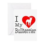 I Love My Bullterrier Greeting Cards (Pk of 20)