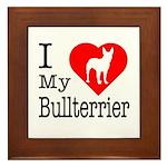 I Love My Bullterrier Framed Tile