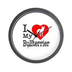 I Love My Bullterrier Wall Clock