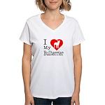 I Love My Bullterrier Women's V-Neck T-Shirt