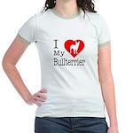 I Love My Bullterrier Jr. Ringer T-Shirt