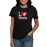I Love My Bullterrier Women's Dark T-Shirt