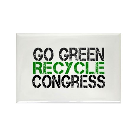 Go Green Recycle Congress Rectangle Magnet (100 pa