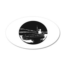 River Tugboat Oval Woodcut Wall Decal