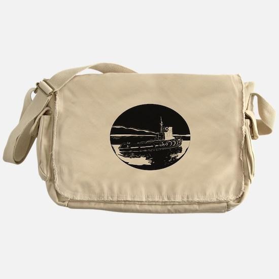 River Tugboat Oval Woodcut Messenger Bag