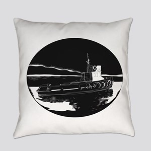 River Tugboat Oval Woodcut Everyday Pillow