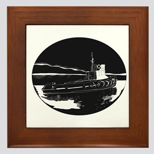 River Tugboat Oval Woodcut Framed Tile