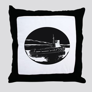 River Tugboat Oval Woodcut Throw Pillow