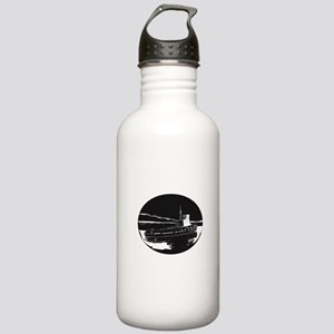 River Tugboat Oval Woodcut Water Bottle