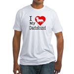 I Love My Dachshund Fitted T-Shirt