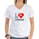 I Love My Doberman Pinscher Women's V-Neck T-Shirt