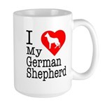 I Love My German Shepherd Large Mug