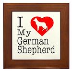I Love My German Shepherd Framed Tile