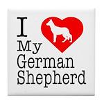 I Love My German Shepherd Tile Coaster