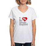 I Love My German Shepherd Women's V-Neck T-Shirt
