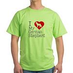 I Love My German Shepherd Green T-Shirt