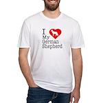 I Love My German Shepherd Fitted T-Shirt