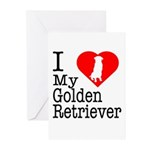 I Love My Golden Retriever Greeting Cards (Pk of 2