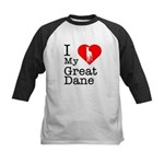 I Love My Great Dane Kids Baseball Jersey