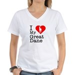 I Love My Great Dane Women's V-Neck T-Shirt