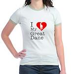 I Love My Great Dane Jr. Ringer T-Shirt