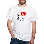 I Love My Great Dane White T-Shirt