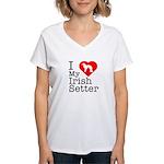 I Love My Irish Setter Women's V-Neck T-Shirt