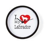 I Love My Labrador Retriever Wall Clock