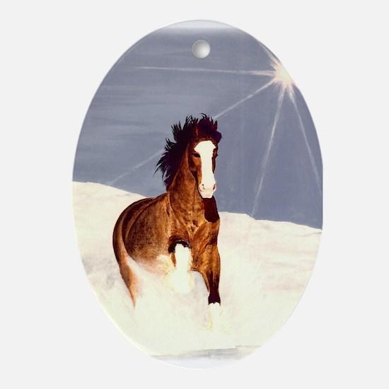 Starlight Snow Run Ornament (Oval)
