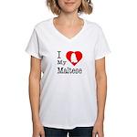 I Love My Maltese Women's V-Neck T-Shirt