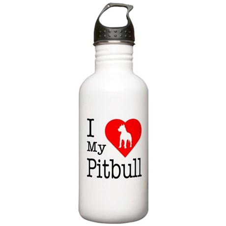 I Love My Pitbull Terrier Stainless Water Bottle 1