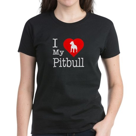 I Love My Pitbull Terrier Women's Dark T-Shirt