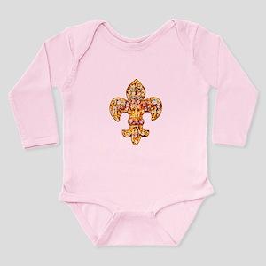 Jeweled Fleur de lis Long Sleeve Infant Bodysuit