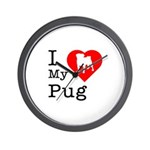 I Love My Pug Wall Clock