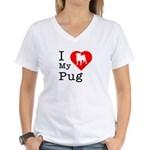 I Love My Pug Women's V-Neck T-Shirt