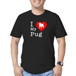 I Love My Pug Men's Fitted T-Shirt (dark)