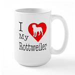 I Love My Rottweiler Large Mug