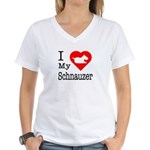 I Love My Schnauzer Women's V-Neck T-Shirt