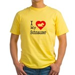 I Love My Schnauzer Yellow T-Shirt